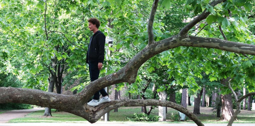 Benedikt Klane standing on a tree